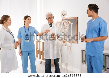 Medical students and professor studying human skeleton anatomy in classroom
