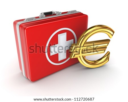 Medical suitcase and golden euro sign.Isolated on white background.3d rendered.