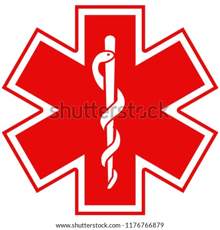 Medical symbol of the Emergency - Star of Life - icon isolated on white background in France