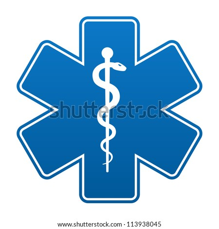 Medical symbol of the Emergency - Star of Life isolated on white background