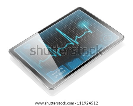 Medical tablet showing cardiogram on display, isolated on white background with reflection.