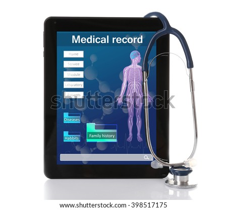 Medical tablet with stethoscope isolated on white Stock photo ©