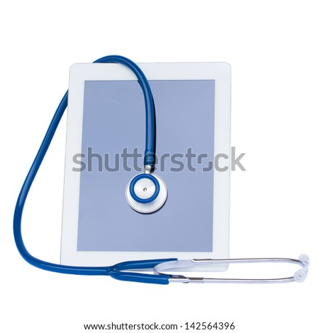 medical tablet with stethoscope isolated on white background