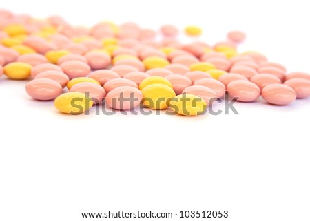 Medical  tablets isolated on white background.