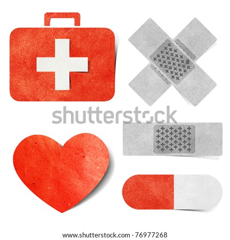 Medical tag recycled paper craft  stick background
