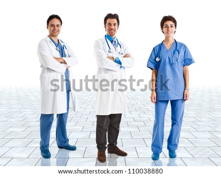 Medical team in a bright room
