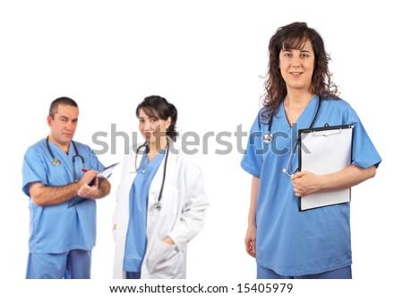 Medical team leader isolated on white background