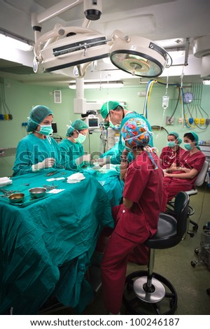 Medical team performing surgery at the hospital