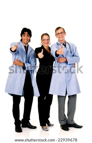 Medical team, two young male cardiologist and female assistant.  Studio, white background.
