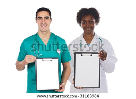 Medical team whit clipboard on a over white background
