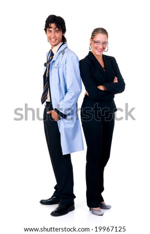 Medical team,  young male  cardiologist and female assistant.  Studio, white background.
