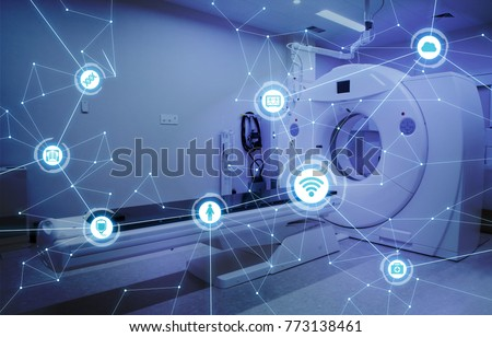 Medical technology and communication network concept.