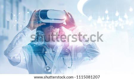 Medical technology concept. Mixed media. Female doctor wearing virtual reality glasses. Checking brain testing result with simulator interface, Innovative technology in science and medicine.