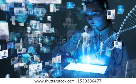 Medical technology concept. Remote medicine. Electronic medical record.