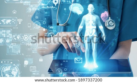 Medical technology concept. Remote medicine. Electronic medical record. Stock photo ©