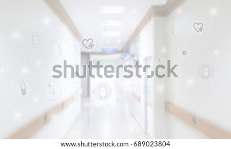 Medical technology innovation concept with blurred hospital background.