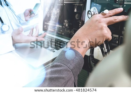 Medical technology network team meeting concept. Doctor hand working smart phone modern digital tablet laptop computer chart interface, double exposure effect photo