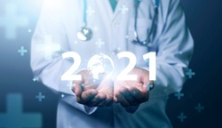 Medical Technology on 2021 target set goals achievement new year resolution, doctor health care worker planning saving world pandemic COVID-19 strategy ideas, graphic icon copy space blue background