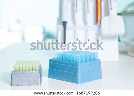 Medical test lab. Tools for laboratory analysis of samples for novel coronavirus, cancer, viral, bacterial pathologies. Automatic high throughput histology staining device and automatic pipettes.