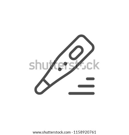Medical thermometer line icon isolated on white