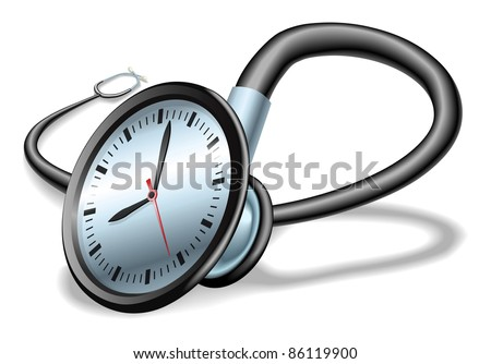 Medical time concept. Stethoscope with clock on face, concept for time pressure in healthcare or waiting lists etc.