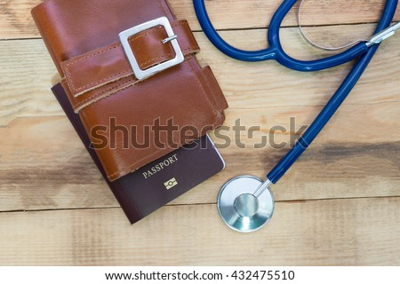 Medical tourism concept. Stethoscope with passport. #432475510