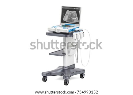 Medical Ultrasound Diagnostic Machine, 3D rendering isolated on white background