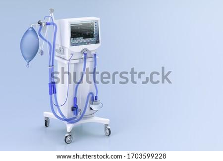 Medical ventilator intensive care unit for covid-19 coronavirus patients. Artificial lung ventilation, pneumonia caused by corona virus covid 19 pandemic hospital treatment. ICU ventilator 3D concept