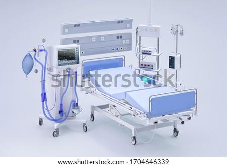 Medical ventilator intensive care unit for covid-19 coronavirus patients. Artificial lung ventilation, pneumonia caused by corona virus covid 19 pandemic. Hospital ward room ICU ventilator 3D concept Photo stock ©