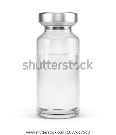 Medical vial for injection isolated on white. 3d rendering