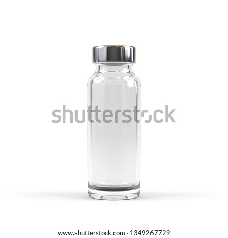 Medical vial for injection isolated on white. 3d rendering.