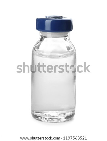 Medical vial with solution for injection on white background