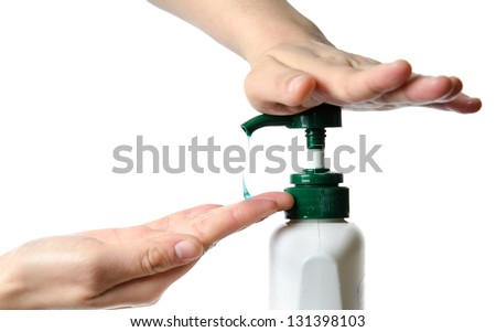 medical wash hand gesture series, cleaning with bubble isolated