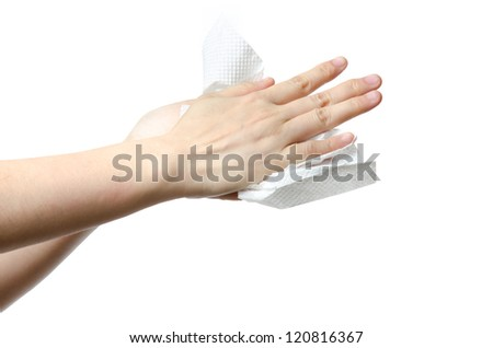 medical wash hand gesture series, drying hands, cleaning with bubble isolated