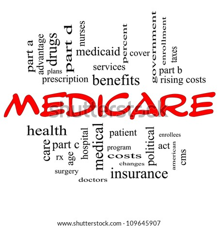 Medicare Word Cloud Concept in Red Capital letters with great terms such as advantage, health, care, hospital, tax, enrollment, part d and more