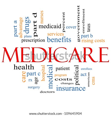 Medicare Word Cloud Concept with great terms such as health, care, advantage, hospital, tax, enrollment, part d and more