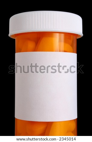 Medication bottle with clipping path and pills