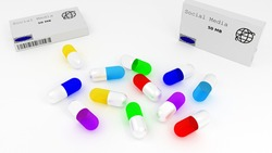 Medication drugs capsules or pills for social media obsession internet addiction or tech dependency