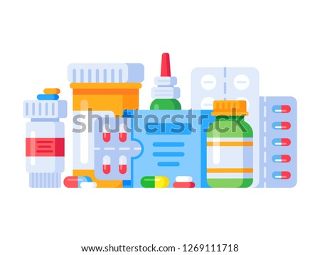 Medication drugs. Medicine pill, pharmacy drug bottle and antibiotic or aspirin pills cure treatment. Medications prescription vitamin capsules painkillers, health shop isolated  illustration