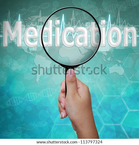 Medication , word in Magnifying glass on medical background