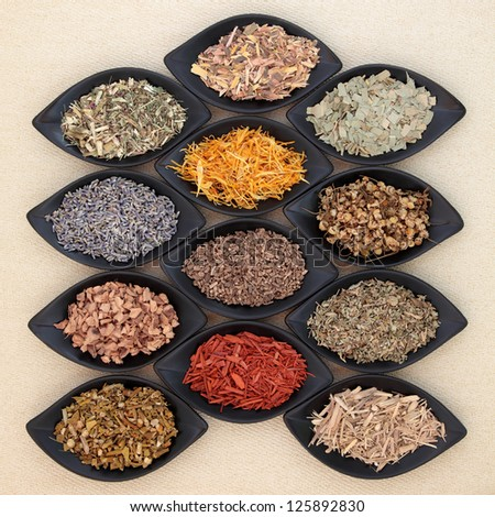 Medicinal herb selection also used in magical potions over cream  linen background.