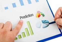 Medicinal pills sales prediction chart and piechart. Financial results and marketing report statistics