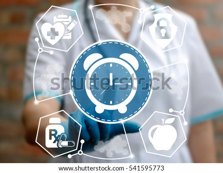 Medicine alarm clock time management health care concept. Healthcare medical treatment insurance help money healthy web prescription ambulance technology