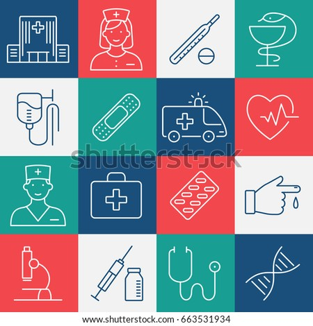 Medicine and Health symbols for info graphics, websites and print media. Contour simple medical icons set.