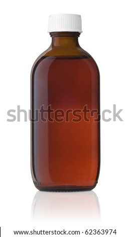 Medicine Bottle, Brown glass, medicine bottle with a white screw cap and liquid inside.