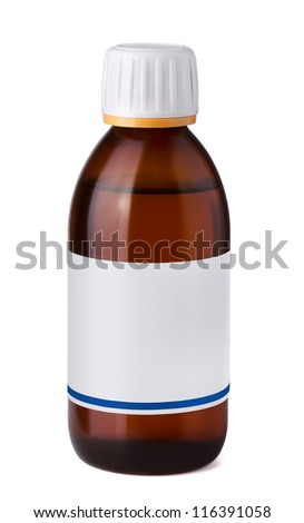 Medicine bottle with blank label isolated on white