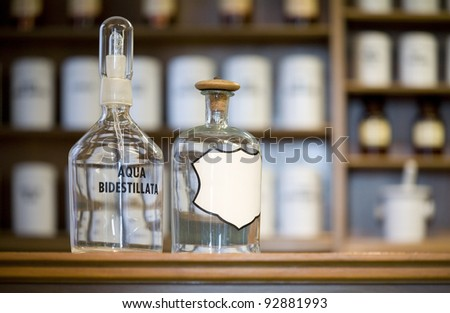 medicine bottles, blank label, free copy space