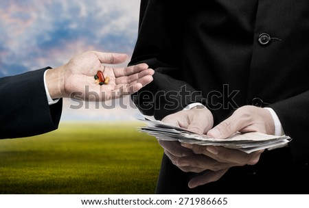Medicine business concept, Businessman count the banknote for trading medicine