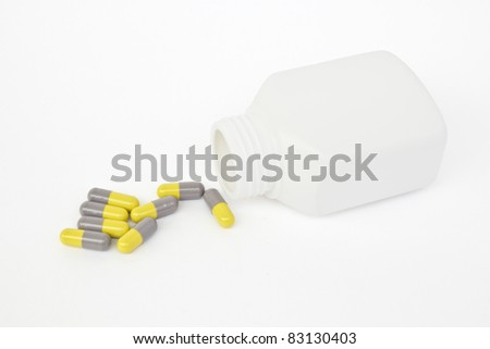 medicine capsule on white background.