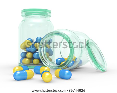 Medicine capsules spilled from the pill bottle  3d illustration